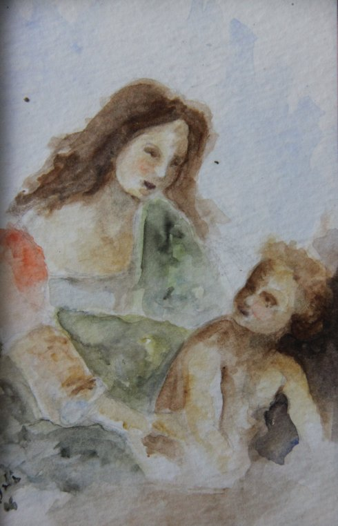 Mama & Child: My artist friend painted this for us when our son was born.