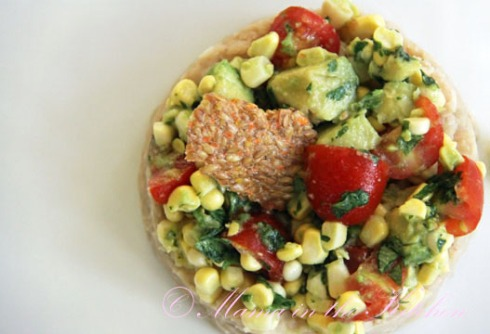 Avocado Corn Salad over Cooked Beans: 1 cup of cooked white beans contains 16g of protein, 1 cup of raw corn contains 5g of protein, 1 cup of avocado contains 5 g of protein and 1 cup of tomatoes has 1g of protein.